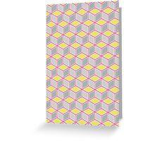 Tumbling Blocks, Pink/Yellow Greeting Card