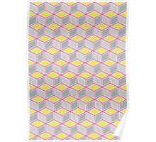 Tumbling Blocks, Pink/Yellow Poster