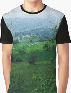 Countryside Landscape Print Graphic T-Shirt