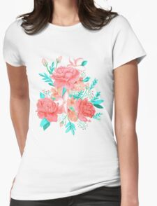 Watercolor floral print Womens Fitted T-Shirt
