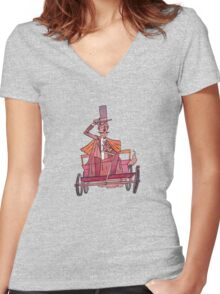 19th Century Car Enthusiast Women's Fitted V-Neck T-Shirt