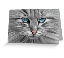 Cute Cat Eyes Face Water Color Oil Painting Art Greeting Card