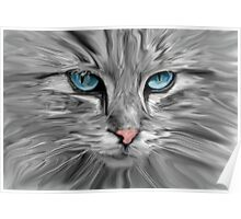 Cute Cat Eyes Face Water Color Oil Painting Art Poster