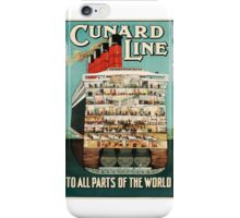 Sail Cunard Line - Vintage Travel Poster iPhone Case/Skin