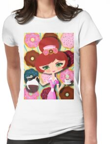 Hot Coffee And Fresh Donuts Womens Fitted T-Shirt