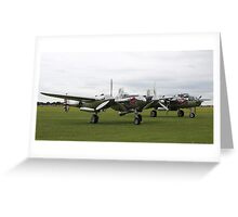 'Bulls with Wings' - P-38 Lightning & B-25 Mitchell Greeting Card
