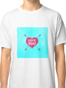 Love You Pink Heart Anniversary Valentine Couple Classic T-Shirt