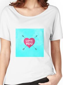 Love You Pink Heart Anniversary Valentine Couple Women's Relaxed Fit T-Shirt