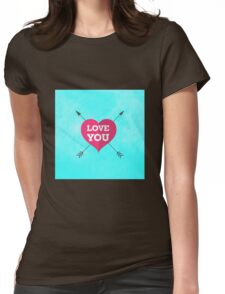 Love You Pink Heart Anniversary Valentine Couple Womens Fitted T-Shirt