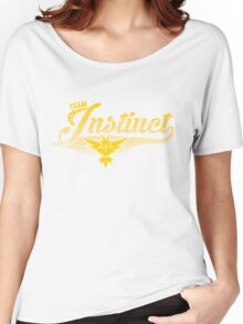 Pokemon Go - Team Instinct Distressed Athletic Logo Women's Relaxed Fit T-Shirt