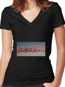 Red clouds Women's Fitted V-Neck T-Shirt