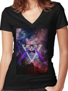 Illuminati space cat warrior Women's Fitted V-Neck T-Shirt