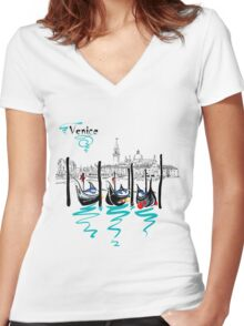 Gondolas in Venice lagoon, Italia Women's Fitted V-Neck T-Shirt