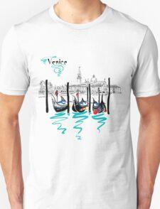 Gondolas in Venice lagoon, Italia Unisex T-Shirt