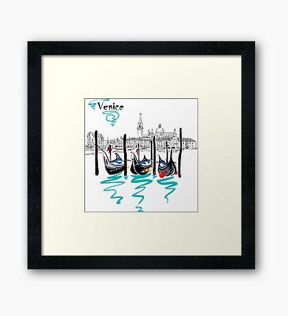 Gondolas in Venice lagoon, Italia Framed Print