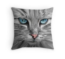 Cute Cat Eyes Face Water Color Oil Painting Art Throw Pillow