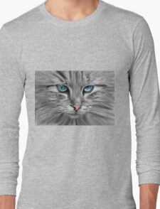 Cute Cat Eyes Face Water Color Oil Painting Art Long Sleeve T-Shirt