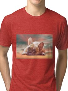 Cute French Bulldog Water Color Art Painting Tri-blend T-Shirt