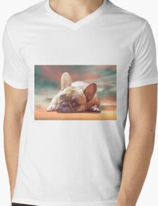 Cute French Bulldog Water Color Art Painting Mens V-Neck T-Shirt