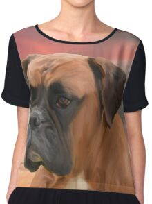 Cute Boxer Dog Water Color Oil Painting Art Chiffon Top