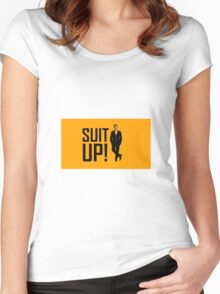 """""""Suit Up"""" with Barney Women's Fitted Scoop T-Shirt"""
