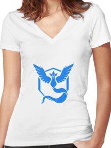 Pokemon Go Team Mystic (Blue Team) Women's Fitted V-Neck T-Shirt