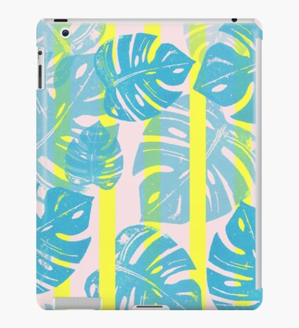 Linocut Monstera Neon iPad Case/Skin