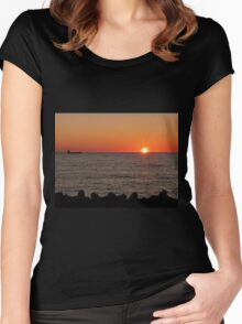 Sunset at Port of Civitavecchia Women's Fitted Scoop T-Shirt