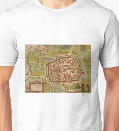 Haarlem Vintage map.Geography Germany ,city view,building,political,Lithography,historical fashion,geo design,Cartography,Country,Science,history,urban Unisex T-Shirt