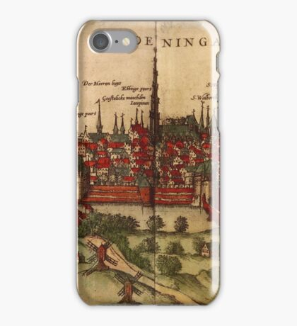 Groningen Vintage map.Geography Netherlands ,city view,building,political,Lithography,historical fashion,geo design,Cartography,Country,Science,history,urban iPhone Case/Skin