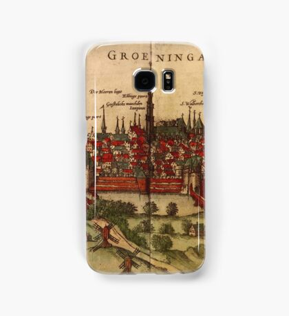 Groningen Vintage map.Geography Netherlands ,city view,building,political,Lithography,historical fashion,geo design,Cartography,Country,Science,history,urban Samsung Galaxy Case/Skin