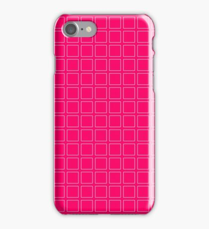 Hot Pink Neon Background with White Square Pattern Print iPhone Case/Skin