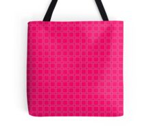 Hot Pink Neon Background with White Square Pattern Print Tote Bag