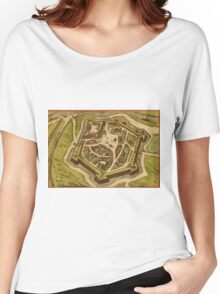 Gravelines Vintage map.Geography France ,city view,building,political,Lithography,historical fashion,geo design,Cartography,Country,Science,history,urban Women's Relaxed Fit T-Shirt