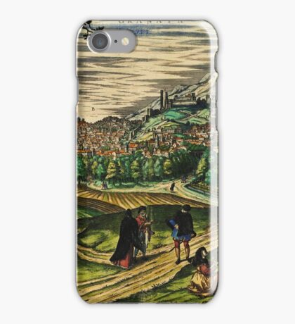 Granada2 Vintage map.Geography spain ,city view,building,political,Lithography,historical fashion,geo design,Cartography,Country,Science,history,urban iPhone Case/Skin