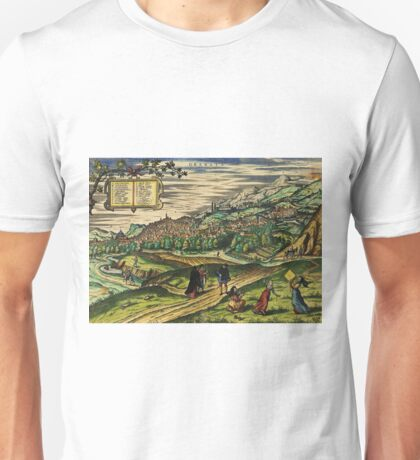 Granada2 Vintage map.Geography spain ,city view,building,political,Lithography,historical fashion,geo design,Cartography,Country,Science,history,urban Unisex T-Shirt