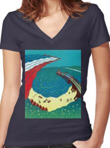 Red Arrows, Bournemouth Beach Women's Fitted V-Neck T-Shirt