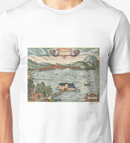 Gmunden Vintage map.Geography Austria ,city view,building,political,Lithography,historical fashion,geo design,Cartography,Country,Science,history,urban Unisex T-Shirt