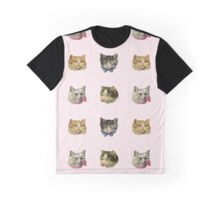 Victorian Kitties On Pink Gingham Graphic T-Shirt