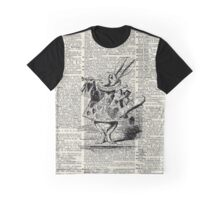 White Rabbit,Alice in Wonderland,Ink Illustration,Dictionary Art Graphic T-Shirt