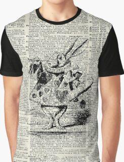 White Rabbit,Alice in Wonderland,Ink Illustration,Dictionary Art Graphic T-Shirt