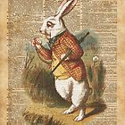 White Rabbit Alice in Wonderland Vintage Art by DictionaryArt