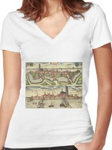 Harderwijk Vintage map.Geography Netherlands ,city view,building,political,Lithography,historical fashion,geo design,Cartography,Country,Science,history,urban Women's Fitted V-Neck T-Shirt