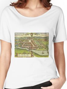 Kolding Vintage map.Geography Denmark ,city view,building,political,Lithography,historical fashion,geo design,Cartography,Country,Science,history,urban Women's Relaxed Fit T-Shirt