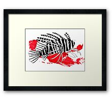 Lion fish on red background Framed Print