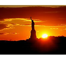Statue of Liberty at Sunset Photographic Print