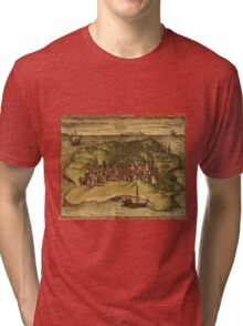Kilwa Vintage map.Geography Tanzania ,city view,building,political,Lithography,historical fashion,geo design,Cartography,Country,Science,history,urban Tri-blend T-Shirt