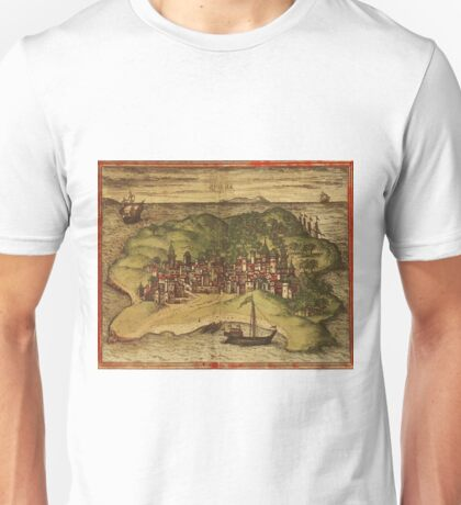 Kilwa Vintage map.Geography Tanzania ,city view,building,political,Lithography,historical fashion,geo design,Cartography,Country,Science,history,urban Unisex T-Shirt