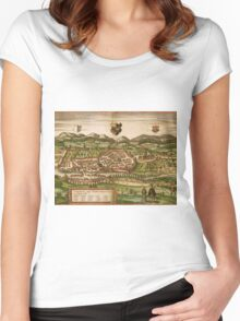 Kempten Vintage map.Geography Germany ,city view,building,political,Lithography,historical fashion,geo design,Cartography,Country,Science,history,urban Women's Fitted Scoop T-Shirt