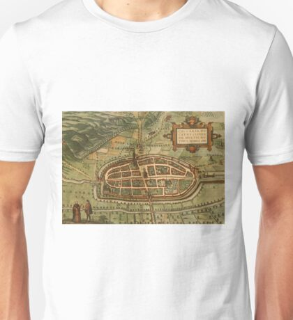 Kalkar Vintage map.Geography Germany ,city view,building,political,Lithography,historical fashion,geo design,Cartography,Country,Science,history,urban Unisex T-Shirt